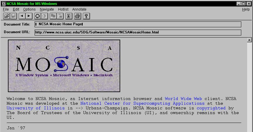 Der erste Internet Browser Mosaic wurde 1993 im Rahmen eines Schulprojekts der University of Illinois von Marc Andressen entwickelt. (Bild: http://www.plyojump.com)