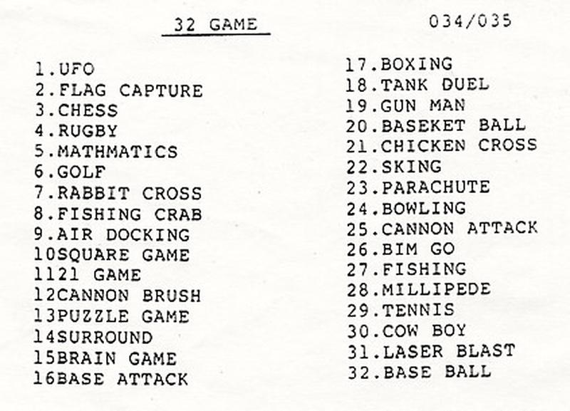 """Die Liste aller eingebauten 32 Spiele des """"Atlanta Jode"""". Inklusive Schreibfehler. (Bild: André Eymann)"""