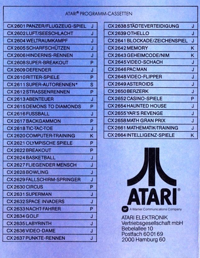 Mit rund 40 Spieletiteln im Jahr 1982 hatte Atari gegenüber der Konkurrenz nur knapp vorne. Trotzdem war Atari klarer Marktührer bei den Videospielkonsolen - ein deutliches Indiz für die höhere Qulaität ihrer Spiele gegenüber den Konkurrenzsystemen. (Bild: Atari)