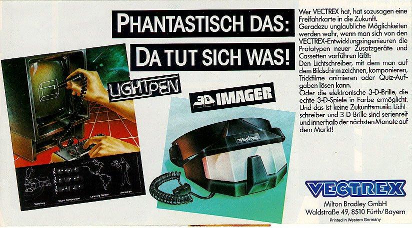 Vectrex Werbung: Lichtschreiber und 3-D-Brille sind serienreif! (Bild: Milton Bradley)