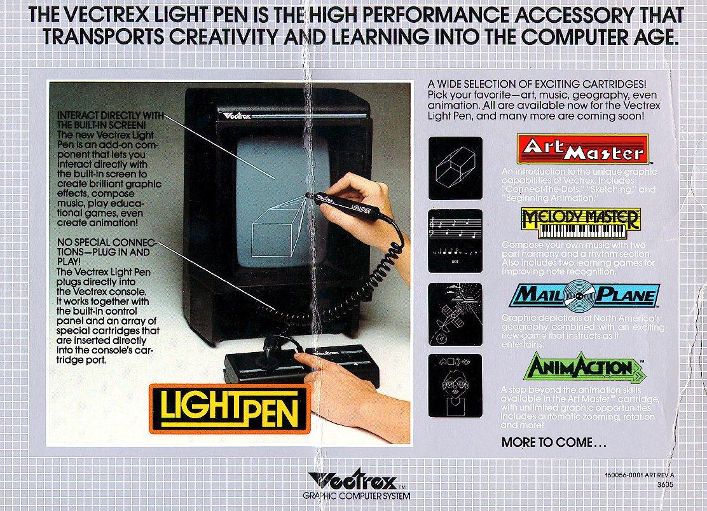 Vectrex Werbung für den Lightpen und seine Module. Mail Plane wurde nie veröffentlicht. (Bild: Milton Bradley)