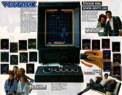 Werbung für das Vectrex Videospielsystem in Deutschland: Klappe auf, Keyboard raus! (Bild: Milton Bradley)