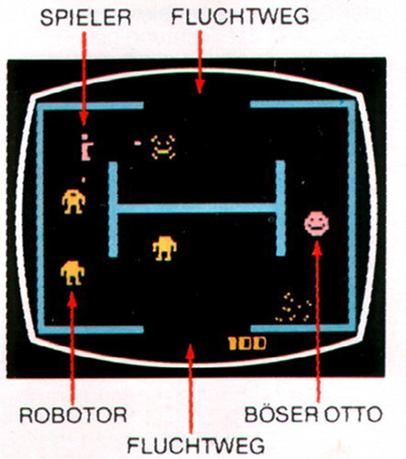 Das Videospiel Berzerk wurde als Umsetzung für das Atari 2600 weltweit erfolgreich verkauft. Hier eine Übersicht des Geschehens mit einer Legende der wichtigsten Spielobjekte. (Bild: MB)