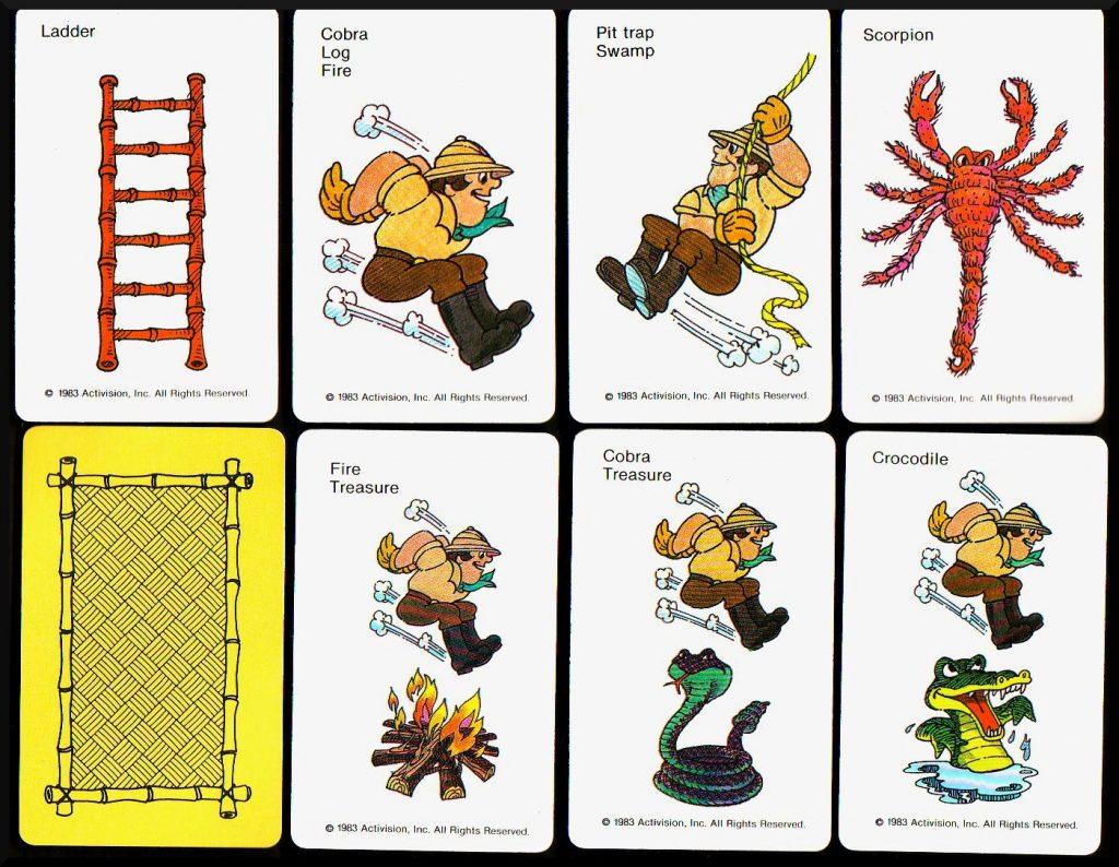 Die verschiedenen Karten des Pitfall!-Brettspiels sind liebevoll und detailliert illustriert. (Bild: MB)