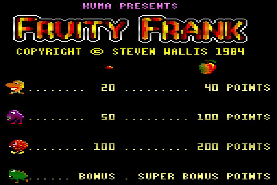 Schon der Titelscreen von Fruity Frank kommt fruchtig daher. (Bild: Kuma Computers Ltd.)