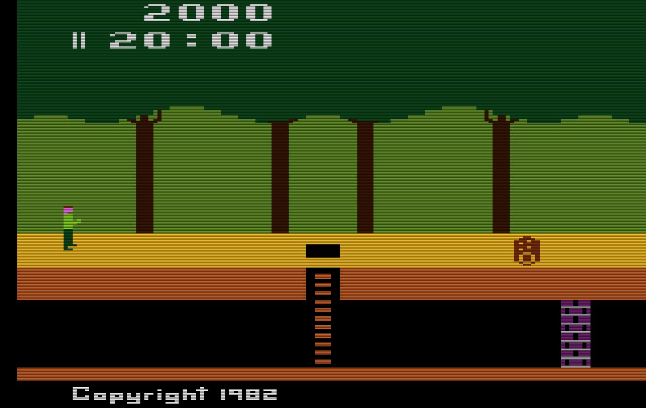 Pitfall! – Diesen Bildschirmausschnitt sieht der Spieler, wenn das Spiel beginnt.