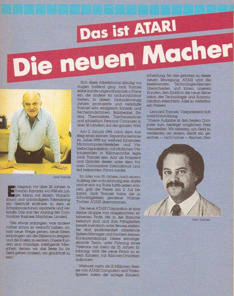 Atari informierte die Fans erst im Club Magazin Januar 1985 über den Führungswechsel in der eigenen Firma. Dieses Heft war dann auch die allerletzte Ausgabe. (Bild: Atari)
