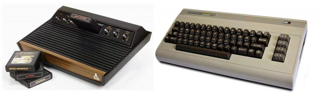 Legendäre Videospielsysteme: Atari VCS und Commodore 64. (Bild: Guido Frank)