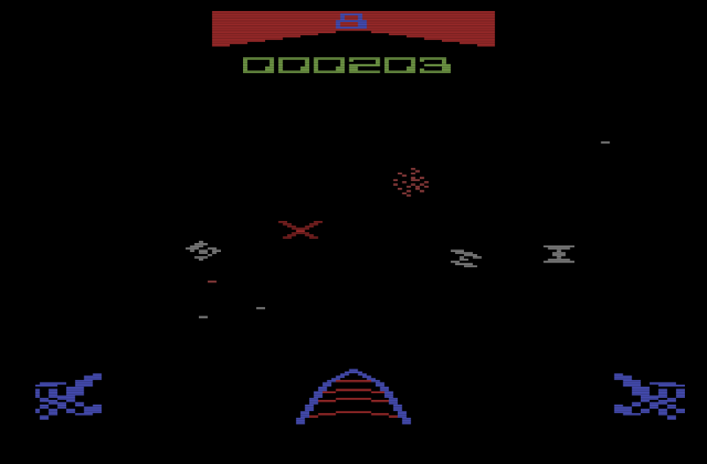 Fast wie am Automaten: die Atari VCS Umsetzung des Spielhallen-Hits Star Wars. (Bild: Parker)