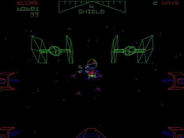 Im Anflug auf den Todesstern des Imperiums. Originalbild des Star Wars Vektor-Automaten von 1983. (Bild: Atari)