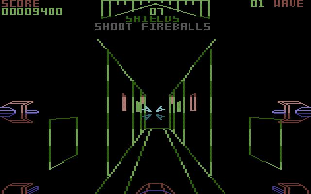 Im tunnelartigen Graben des Todessterns. Hier muss der Spieler ein Geschoss in einen Luftschacht abwerfen. (Bild: Atari)