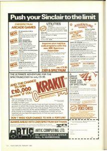 """Eine Anzeige von ARTIC aus der Zeitschrift """"Your Computer"""" vom Februar 1983. (Bild: Artic)"""