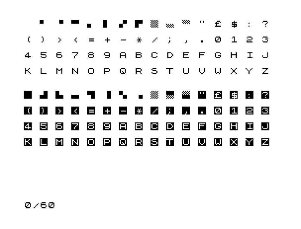 Der Zeichensatz des ZX81. (Bild: Wikimedia)