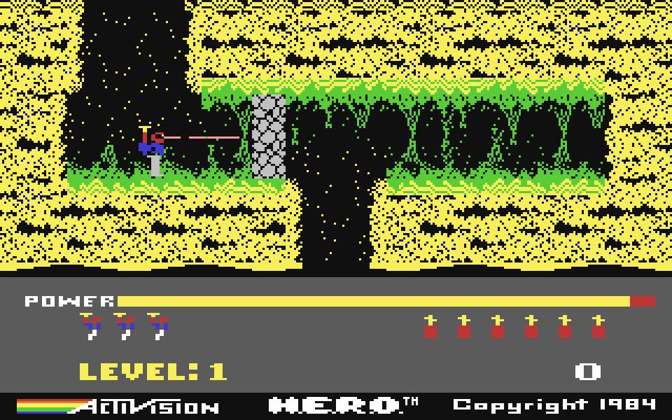 Zum Vergleich hier das Original, die C64-Version) von H.E.R.O. (Bild: Jens Sommerfeld)