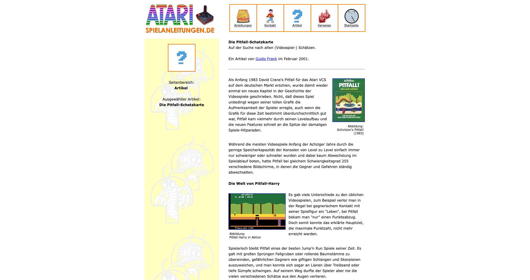"""Die erste Webseite. Hier wurden die Texte noch als inhaltliche Erweiterung der Seite """"Atari-Spielanleitungen.de"""" gehostet. Zeitraum: 1999-2009. (Bild: André Eymann)"""