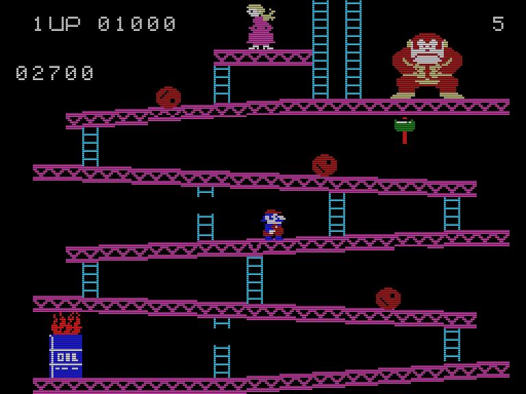 Der Titel Donkey Kong versprach Spielhallenatmosphäre auf dem ColecoVision. Dennoch gab es kleine Unterschiede zum Vorbild. (Bild: Nintendo/CBS)