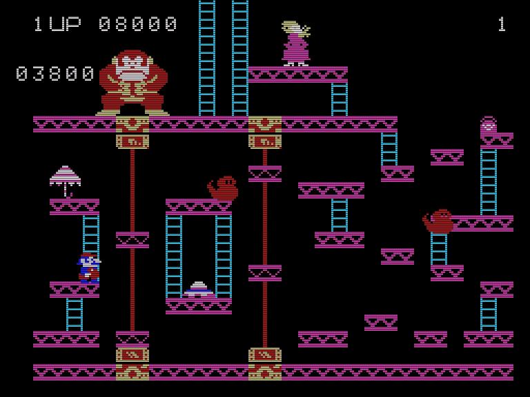 Mit dem Fehlen der Sprungfedern im Fahrstuhl-Level von Donkey Kong, hatte Coleco ein wichtiges taktisches Spielelement aus der Version für das ColecoVision ausgebaut. (Bild: Nintendo/CBS)