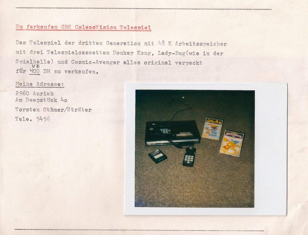 Die Original Verkaufsanzeige meines damaligen ColecoVision Spielsystems. (Bild: Torsten Othmer)
