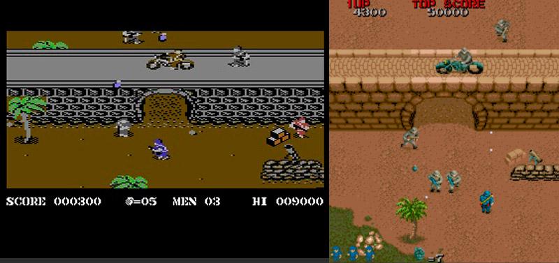 """Joe betritt 1985 die Arkade-Bühnen dieser Welt mit Tokuru Fujiwaras Wolf of the Battlefield, im Westen besser bekannt als Commando. Elite Systems veröffentlicht rechtzeitig zum Weihnachtsfest 1985 die Arkadenumsetzung für sämtliche gängigen Heimcomputer. Wie viele anderen Automaten war auch Commando im Hochkantformat angelegt, sodass Spieler """"vorausschauender"""" arbeiten konnten als Computerspieler, links die C64-Version von Chris Butler. (Bild: Capcom)"""