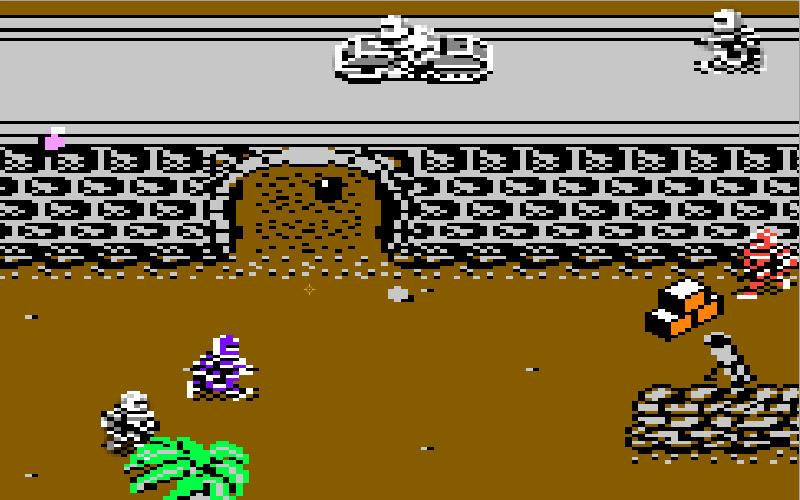 Space Invasion in seiner ganzen Pracht auf dem C64: Man beachte, dass sogar das Super Joe Sprite futuristisch armiert anmutet, obwohl er auf der Packung noch die traditionelle Dschungeltarnung trägt. (Bild: Andreas Wanda)