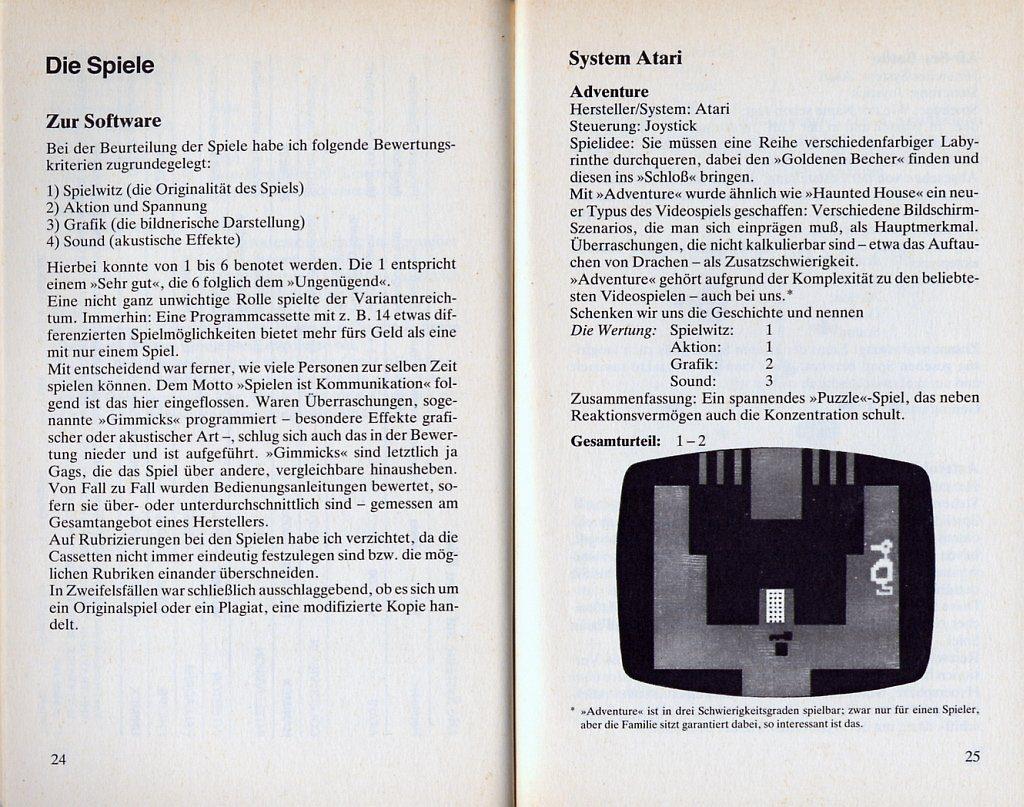 Leseprobe aus dem Kapitel Die Spiele. Hartmut Huffs Meinung zu Adventure von Atari: ...die Familie sitzt garantiert dabei, so interessant ist das. (Bild: Heyne Verlag)