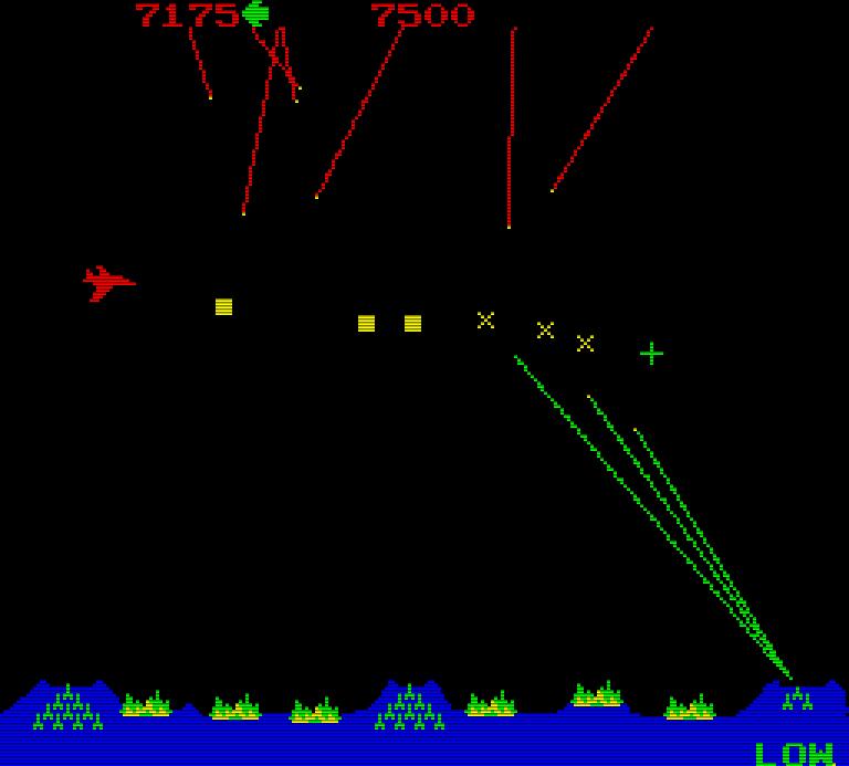 Missile Command: wehrlose Städte werden durch feindliche Bomber angegriffen. (Bild: Atari)