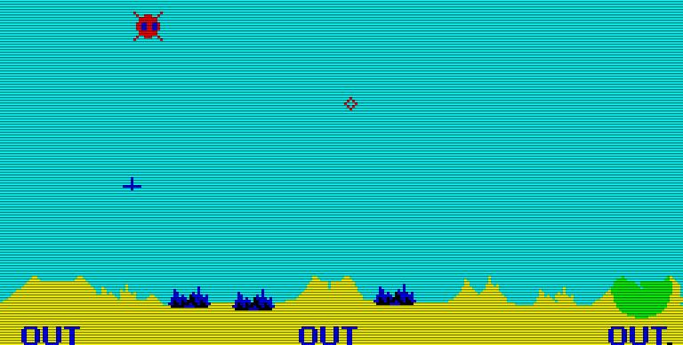 Sobald OUT am unteren Bildschirmrand zu lesen ist, wird es brenzlig. Sind die Munitionsvorräte aufgebraucht, sind die Städte schutzlos. (Bild: Atari)