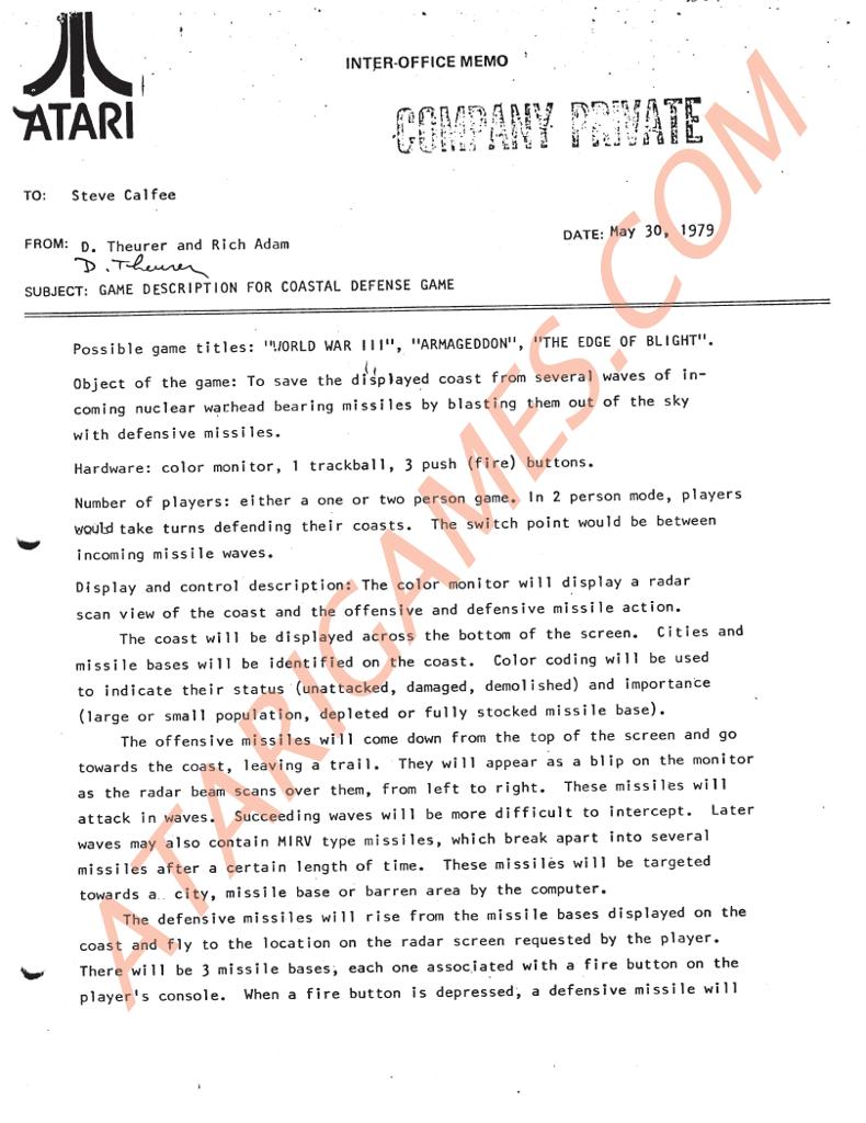 Projektname Word War III. Seite 1 des Konzepts zu Missile Command. (Bild: atarigames.com)