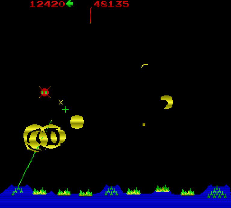 Abwehr durch ein (langsameres) seitliches Silo. (Bild: Atari)