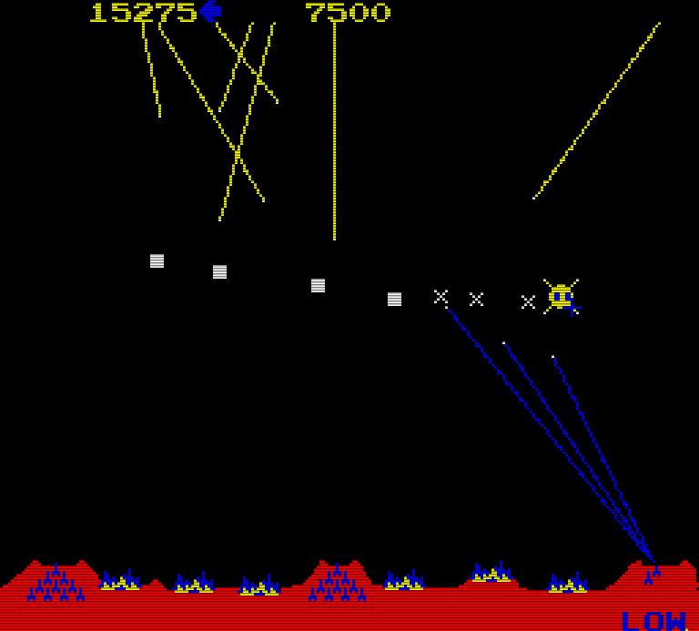 Einen Teppich legen bedeutet mehrere horizontal explodierende Raketen abzufeuern. (Bild: Atari)