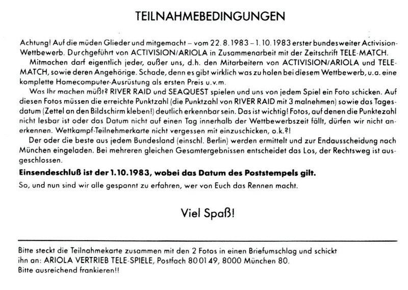 Die Teilnahmebedingungen der Anmeldung zur Meisterschaft 1983. (Bild: Activision)