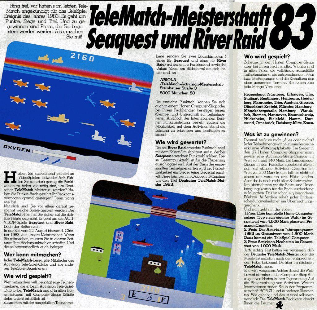 Der Artikel über die River Raid-Meisterschaft in der Telematch. (Bild: Marshall Cavendish)