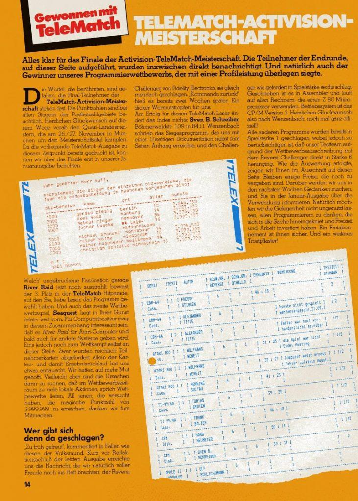 Telematch-Bericht über die Ergebnisse der Activision-Meisterschaft, Teil 1. (Bild: Marshall Cavendish)