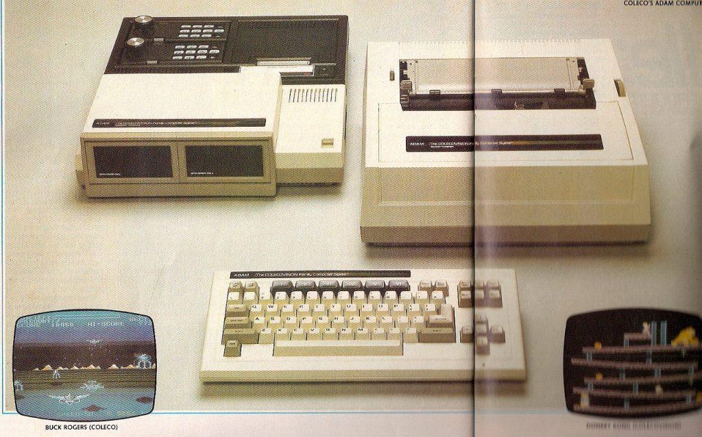Die Heimcomputer-Erweiterung, die an den Expansionsport der ColecoVision (oben links) gesteckt wurde, umfasste die folgenden Geräte: Die Erweiterung selbst mit ein bis zwei Bandlaufwerken und 64 Kilobyte RAM sowie den Typenrad-Drucker und die Tastatur. Die Programmiersprache BASIC wurde auf einer Datenkassette mitgeliefert. (Bild: CHIP, 1983)