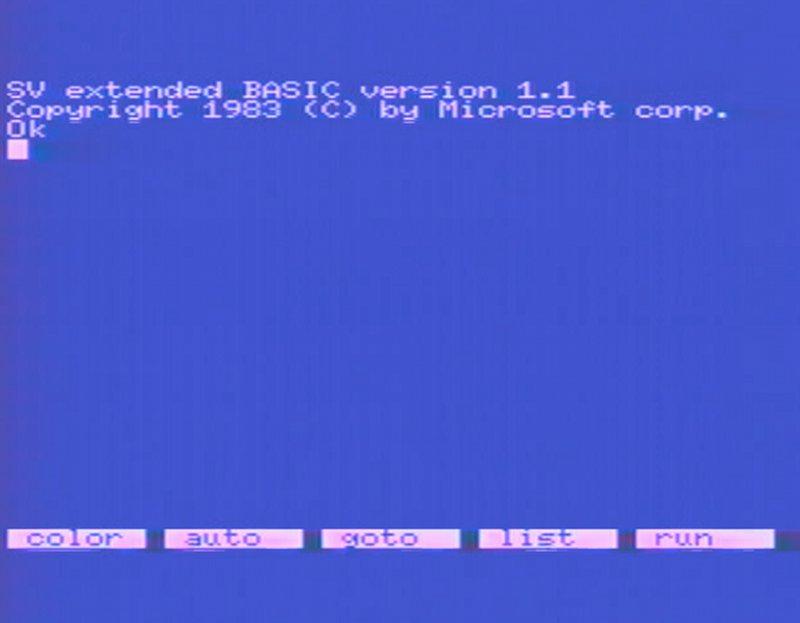 Der Startbildschirm des Spectravideo SV-328. (Bild: Torsten Othmer)