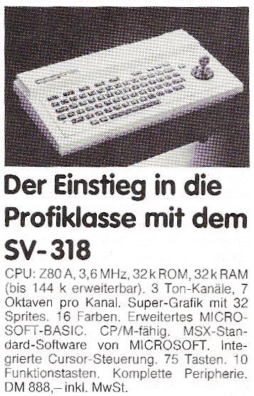 Werbung für den Spectravideo SV-318. (Bild: CHIP, Ausgabe 12 von 1983)