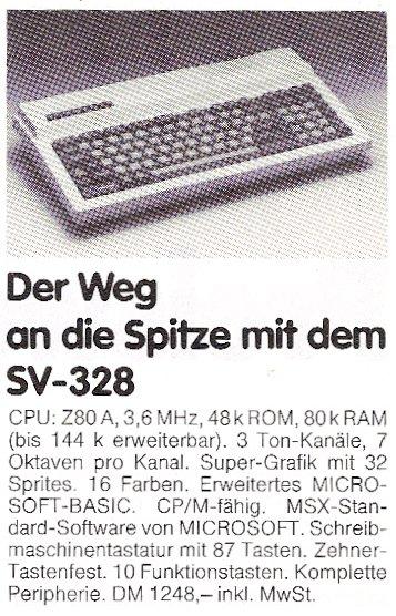 Werbung für den Spectravideo SV-328. (Bild: CHIP, Ausgabe 12 von 1983)