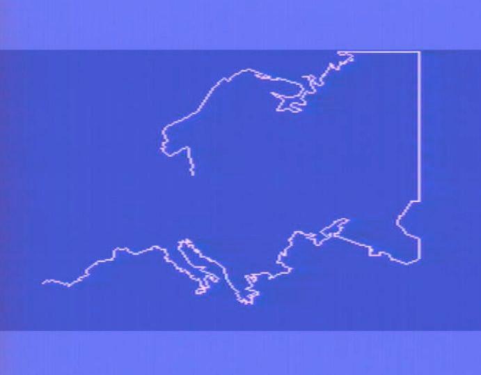 Das Programm zeichnete die Umrisse bestimmter Kontinente auf den Bildschirm. (Bild: Torsten Othmer)