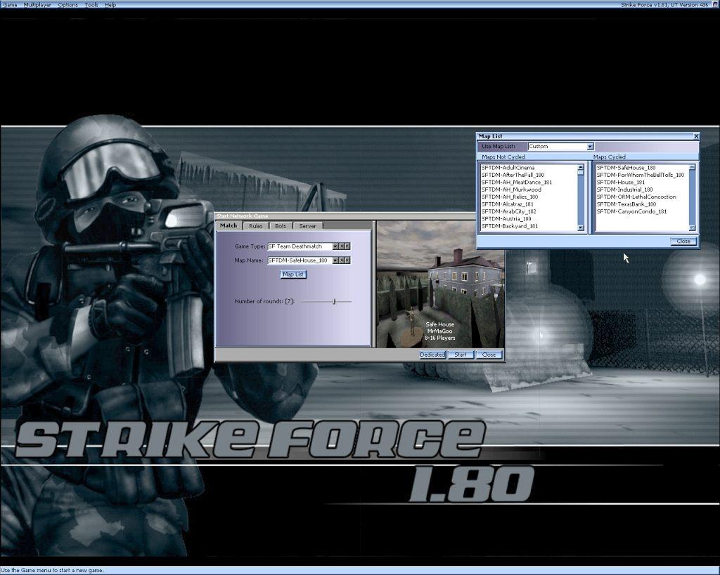 Strike Force 1.81 - Starten eines Netzwerkspiels. (Bild: André Eymann)