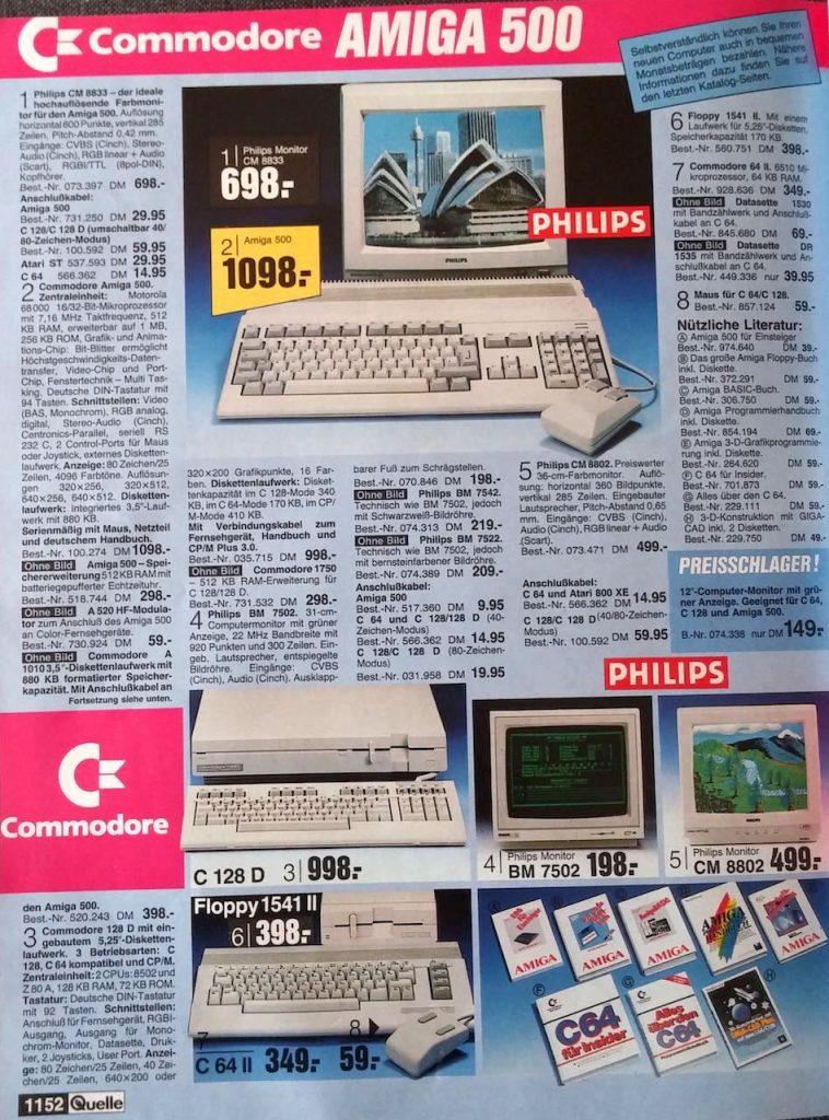 Werbung für den C64 II, C128D und passendes Zubehör in einem OTTO-Katalog der 80er Jahre. (Bild: Christian Klein, www.thelegacy.de)
