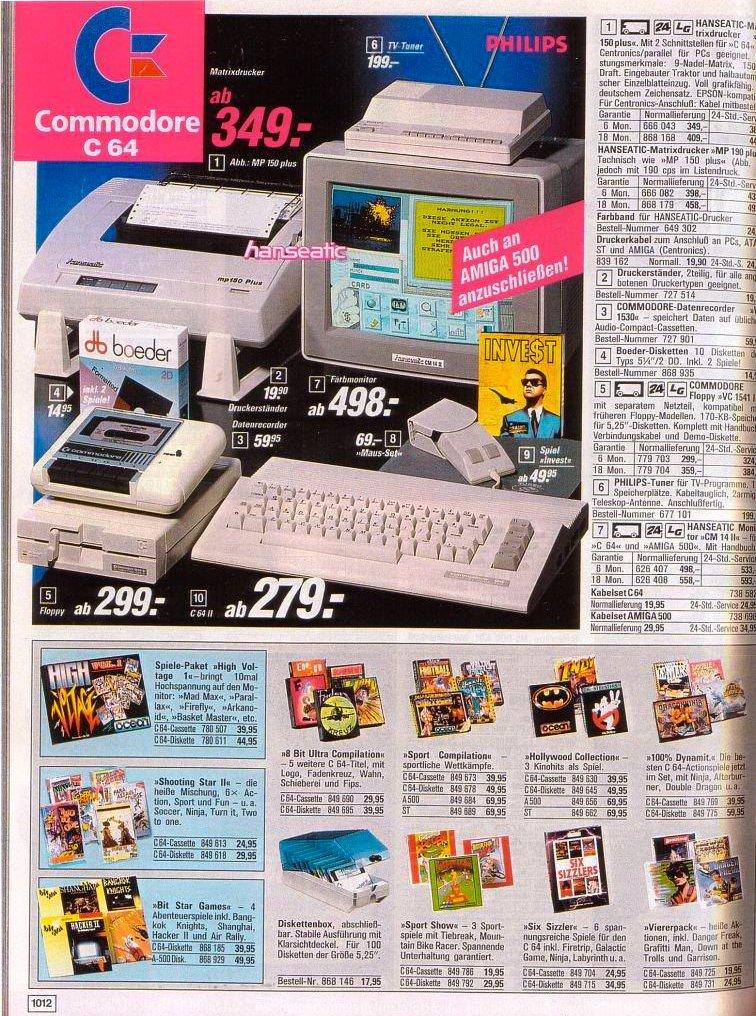 Werbung für den Commodore 64 und passendes Zubehör in einem OTTO-Katalog der 80er Jahre. (Bild: OTTO GmbH & Co KG)