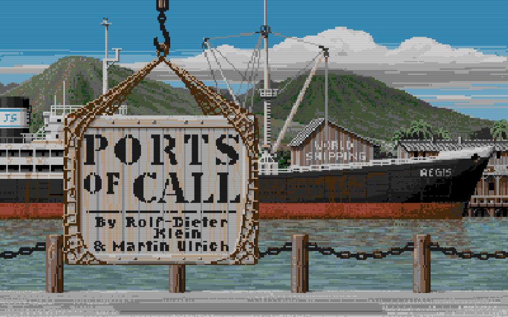 Bei Ports of Call handelt es sich um eine Handelssimulation. Das Spiel wurde von Rolf-Dieter Klein und Martin Ulrich entwickelt. Rolf-Dieter Klein wurde ebenfalls durch den NDR-Klein-Computer bekannt. (Bild: Aegis Interactive Software)