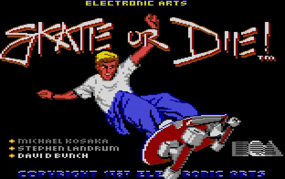 Skate or Die! wurde 1987 von Electronic Arts (heute nur noch als EA bekannt) veröffentlicht. Das Spiel kannte fünf Disziplinen und ähnelte vom Spielprinzip Summer Games von Epyx. (Bild: EA)