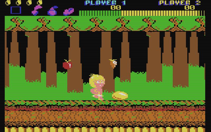 Die C64-Version von Wonder Boy wurde von Activision umgesetzt und kann grafisch mit dem Original nicht mithalten. (Bild: Activision)