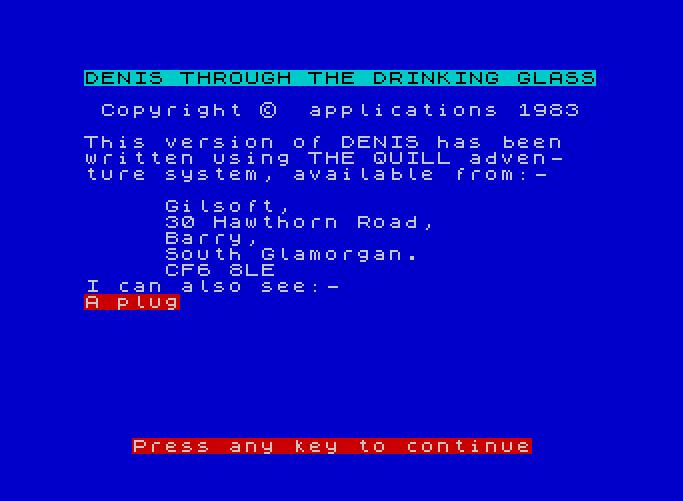 Denis Through the Drinking Glass von 1984. (Bild: Gilsoft, ZX Spectrum)