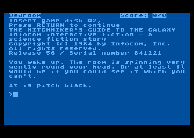 The Hitchhiker's Guide to the Galaxy von 1984. (Bild: Infocom, Atari 8-bit)