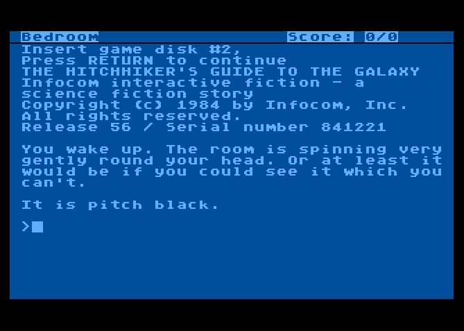 The Hitchhiker's Guide to the Galaxy von 1984. (Bild: Infocom, Atari 8-bit)