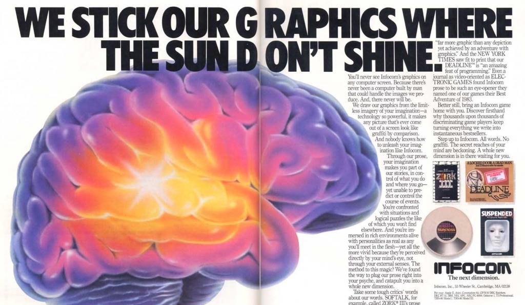 Infocom Werbung aus dem Jahre 1983, der Verzicht auf Grafiken wird hier explizit zelebriert. (Bild: Infocom)