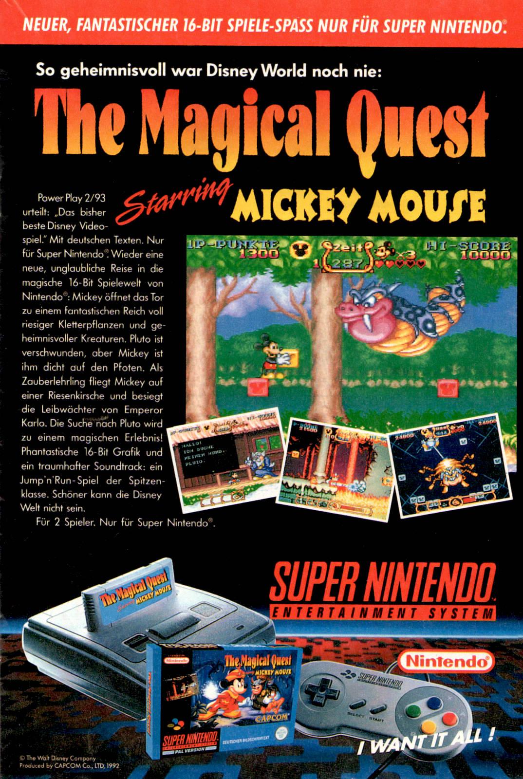 """Werbeanzeige für """"The Magical Quest"""" für das Super Nintendo. Micky Maus Magazin, Ausgabe Nr. 15 vom 07.04.1993. (Bildrechte: Egmont Ehapa Media GmbH)"""