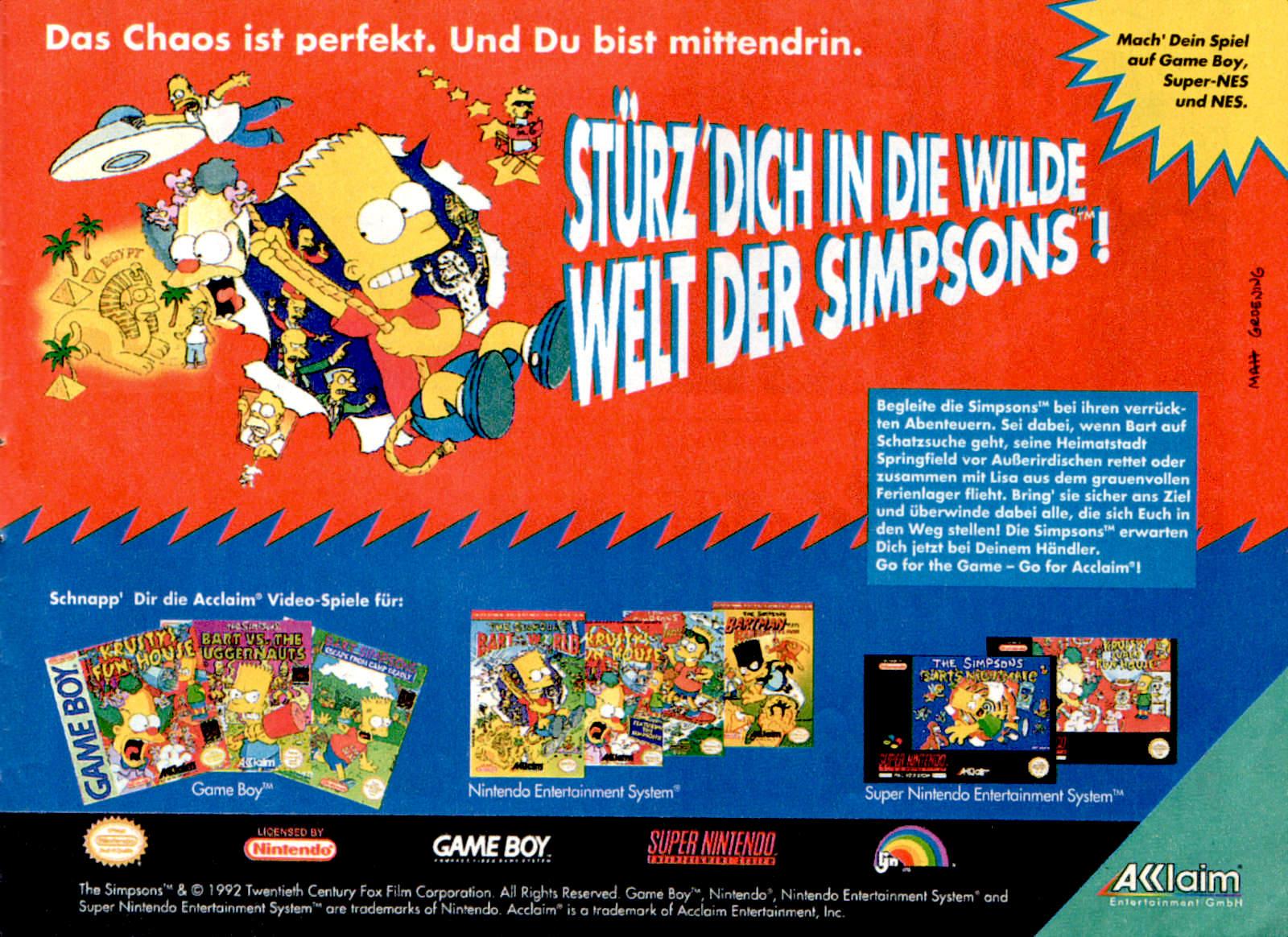 Werbeanzeige für verschiedene Simpsons Videospiele von Acclaim. Micky Maus Magazin, Ausgabe Nr. 19 vom 06.05.1993. (Bildrechte: Egmont Ehapa Media GmbH)